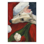 """Carte de Noël d'art de chien de """"lévrier et de Pèr"""