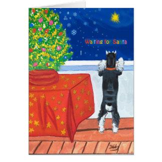 Carte de Noël de attente de Père Noël