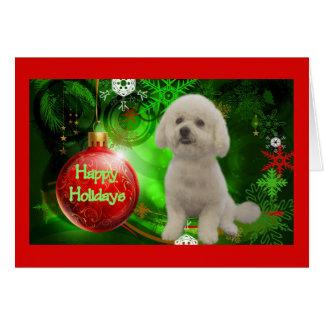 Carte de Noël de Bichon Frise bonnes fêtes