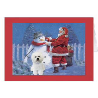 Carte de Noël de Bichon Frise Père Noël et