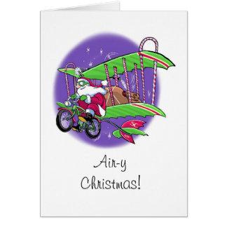 Carte de Noël de bicyclette du vol de Père Noël