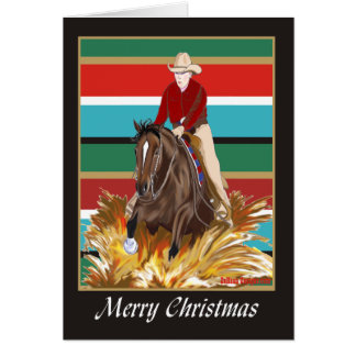 Carte de Noël de blanc de cheval de Reinging de