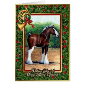 Carte de Noël de blanc de cheval de trait de