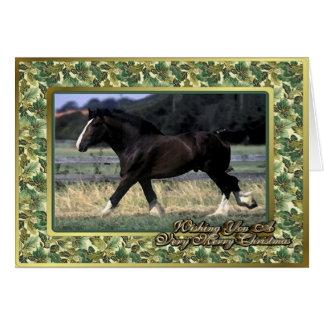 Carte de Noël de blanc de cheval de trait de Shire