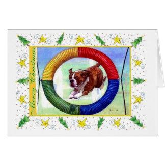 Carte de Noël de blanc de chien d'agilité de