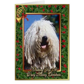 Carte de Noël de blanc de chien de Komondor