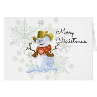 Carte de Noël de bonhomme de neige de cowboy