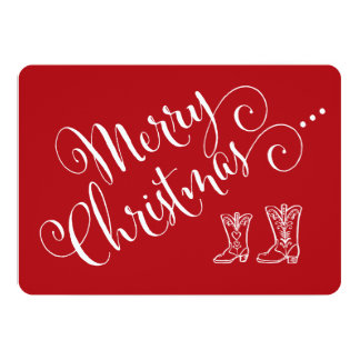 Carte de Noël de bottes de cowboy Carton D'invitation 12,7 Cm X 17,78 Cm