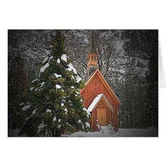 Carte de Noël de chapelle de montagne