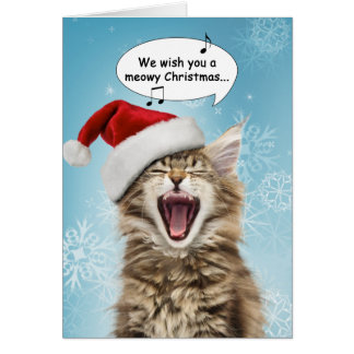 Carte de Noël de chat de chant