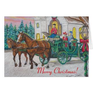 Carte de Noël de cheval et de chariot