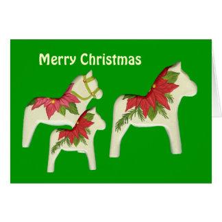 Carte de Noël de chevaux de poinsettia