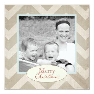 Carte de Noël de Chevron avec la photo Carton D'invitation 13,33 Cm