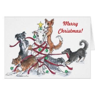 Carte de Noël de chien de moutons