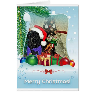 Carte de Noël de chien de Terre-Neuve