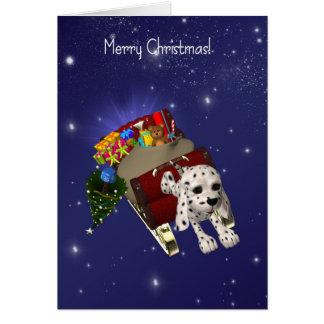 Carte de Noël de chien, Joyeux Noël, Dalmate