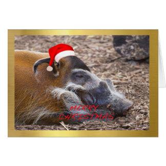 "Carte de Noël de conception ""de Warthog mignon"""