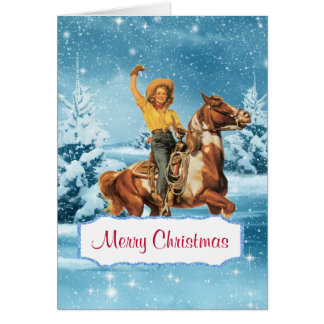 Carte de Noël de cow-girl et de cheval de scène