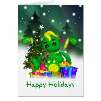 Carte de Noël de dragon - dragon vert mignon avec