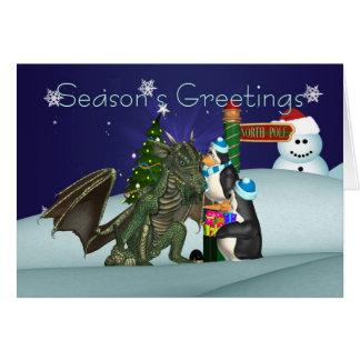 Carte de Noël de dragon et de pingouin, la