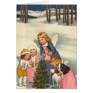 """Carte de Noël de """"enfants et d'un ange"""""""
