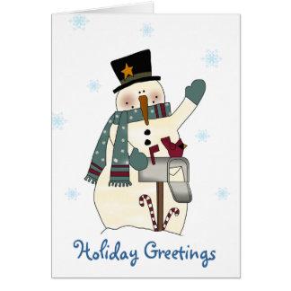 Carte de Noël de fête de bonhomme de neige