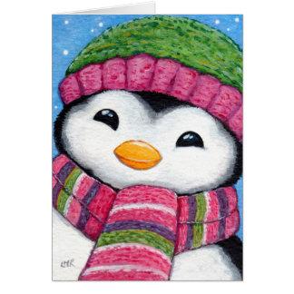 Carte de Noël de fête mignonne de poussin de pingo cartes
