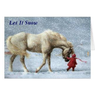 Carte de Noël de fille et de cheval