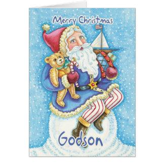 Carte de Noël de filleul avec Père Noël mignon et