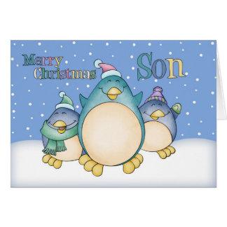 Carte de Noël de fils avec des pingouins