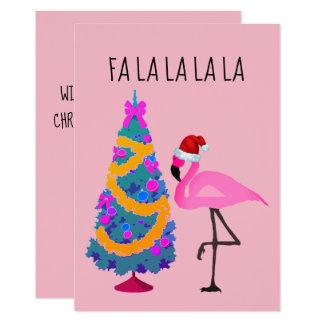 Carte de Noël de flamant de casquette de Père Noël