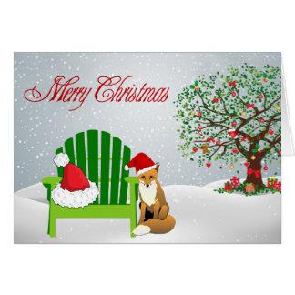 Carte de Noël de Fox et chaise de plage