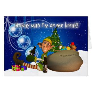 Carte de Noël de Geordie Elf buvant Newcie Brown