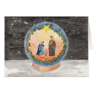 Carte de Noël de globe de neige de nativité