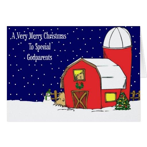 Carte de Noël de grange de parrains