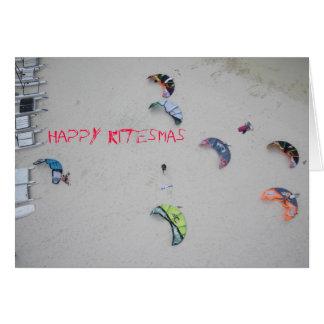 "Carte de Noël de kitesurf de kiteboard ""de"
