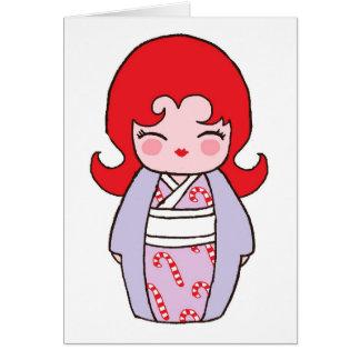 Carte de Noël de Kokeshi Candycane