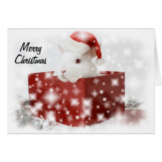 carte de Noël de lapin de père Noël