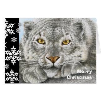 Carte de Noël de léopard de neige