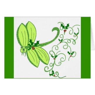 Carte de Noël de libellule de houx