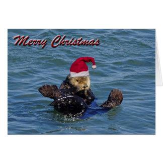 Carte de Noël de loutre de mer