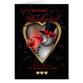 Carte de Noël de mari - bonhomme de neige au coeur