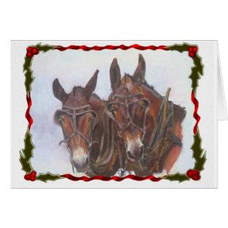 Carte de Noël de mules de vacances