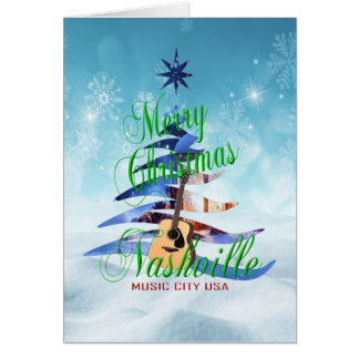Carte de Noël de Nashville de Joyeux Noël - BLEUE