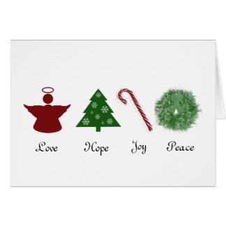 Carte de Noël de paix de joie d'espoir d'amour