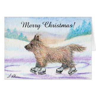 Carte de Noël de patinage de glace de chien de