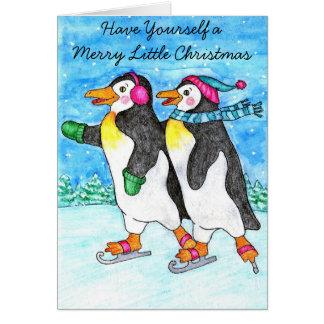 Carte de Noël de patinage de pingouins