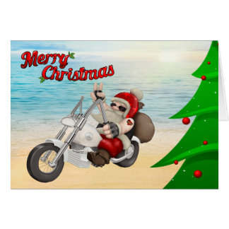 Carte de Noël de Père Noël de moto