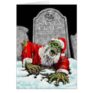 Carte de Noël de Père Noël de zombi (intérieur