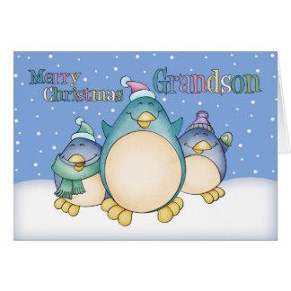 Carte de Noël de petit-fils avec des pingouins